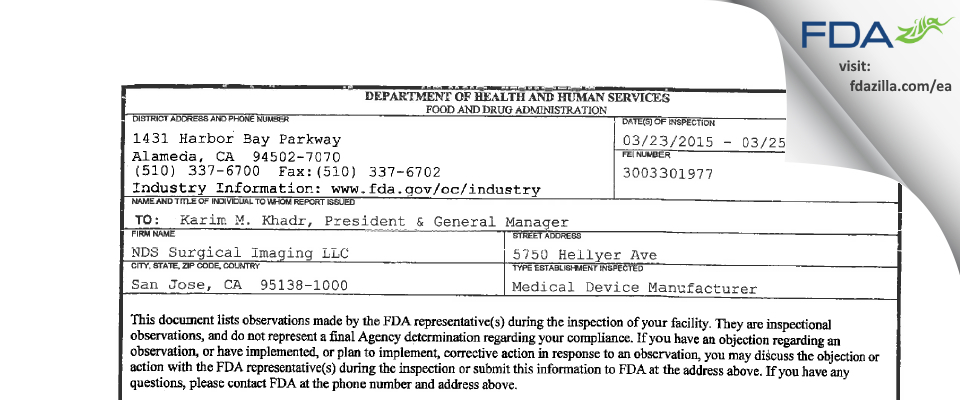 NDS Surgical Imaging FDA inspection 483 Mar 2015
