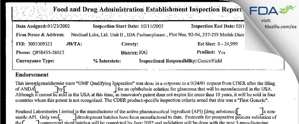 Neuland Labs Limited (Unit II) FDA inspection 483 Feb 2002