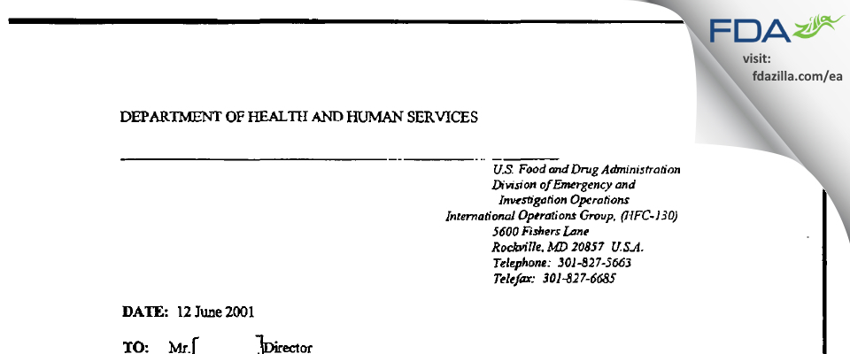 Zhejiang Kangle Pharmaceutical FDA inspection 483 Jun 2001