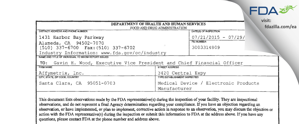 Affymetrix FDA inspection 483 Jul 2015