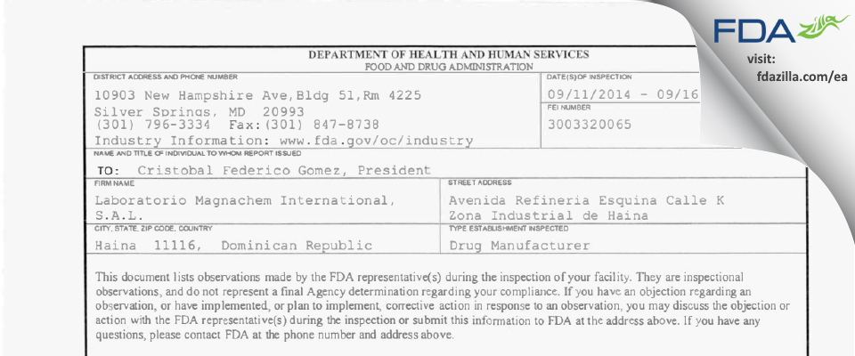Laboratorio Magnachem International, FDA inspection 483 Sep 2014