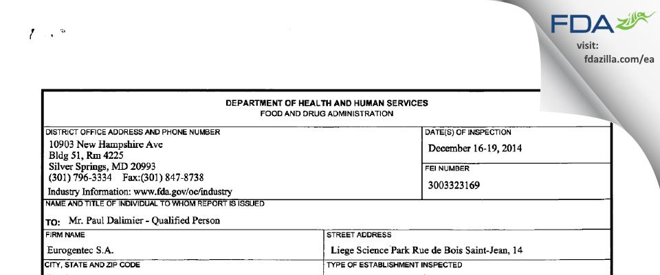 Eurogentec SA FDA inspection 483 Dec 2014