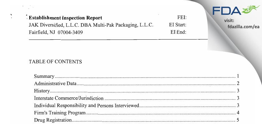 JAK Diversified II FDA inspection 483 Jan 2011