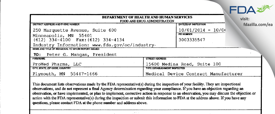 ProMed Pharma FDA inspection 483 Oct 2014