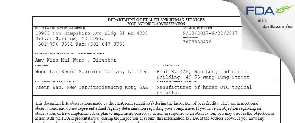 Wong Lap Kwong Medicine Company FDA inspection 483 Sep 2017