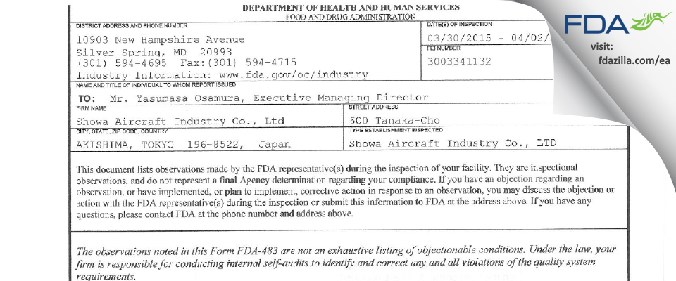 Showa Aircraft Industry FDA inspection 483 Apr 2015