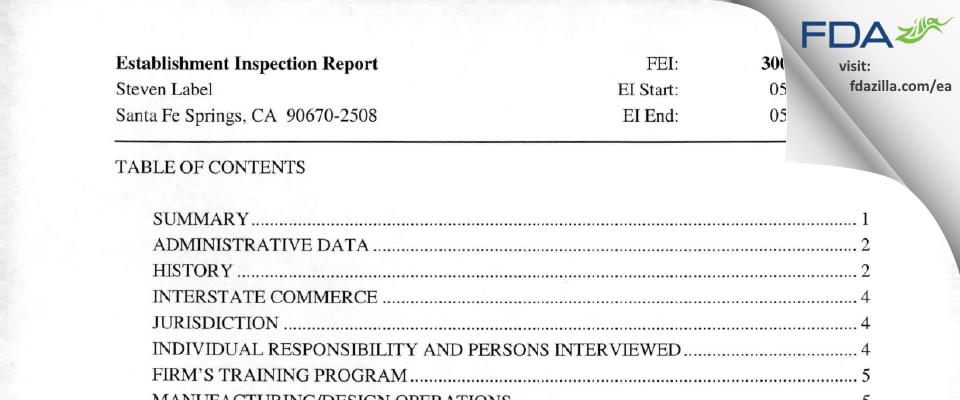 Steven Label FDA inspection 483 May 2009