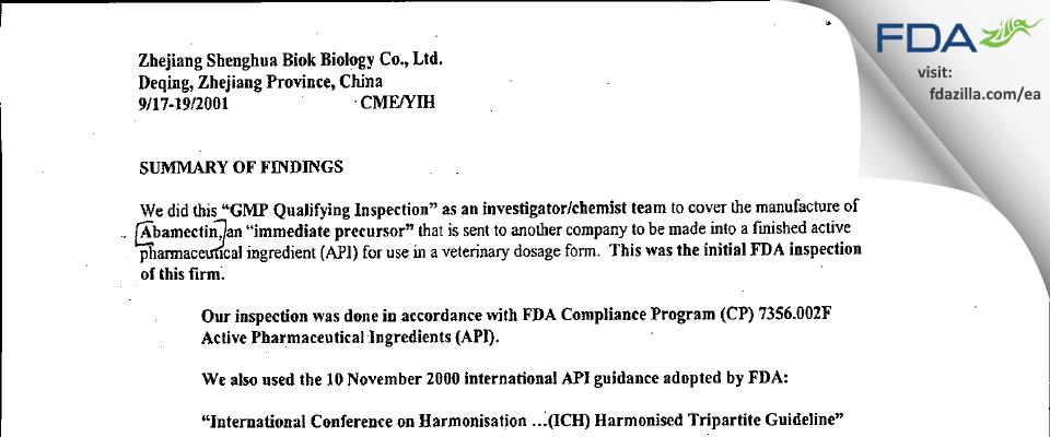 Zhejiang Shenghua Biok Biology FDA inspection 483 Sep 2001