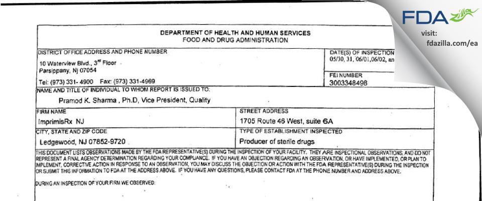 ImprimisRx NJ FDA inspection 483 Jul 2017