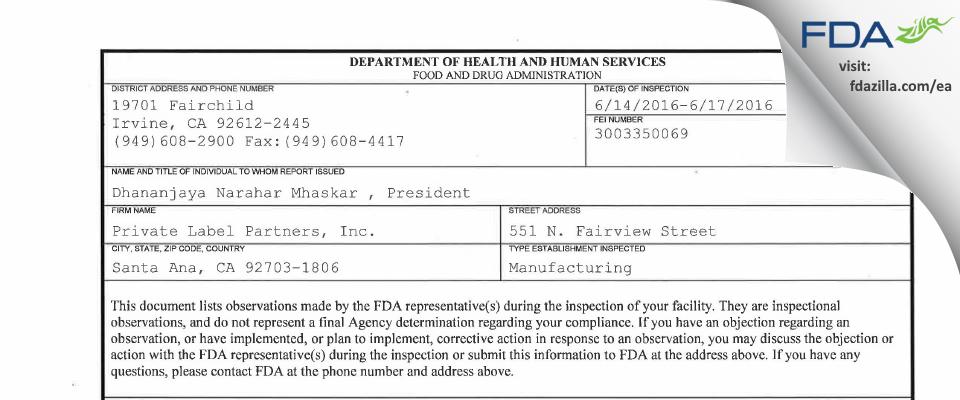 Private Label Partners FDA inspection 483 Jun 2016