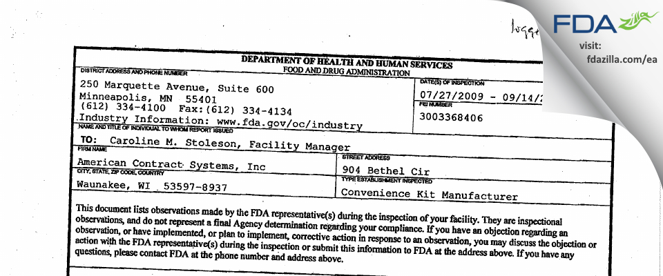 American Contract Systems FDA inspection 483 Sep 2009