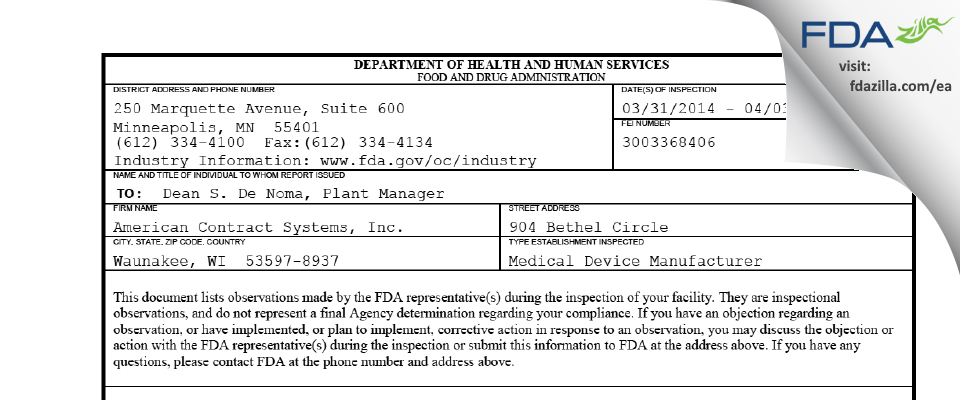 American Contract Systems FDA inspection 483 Apr 2014