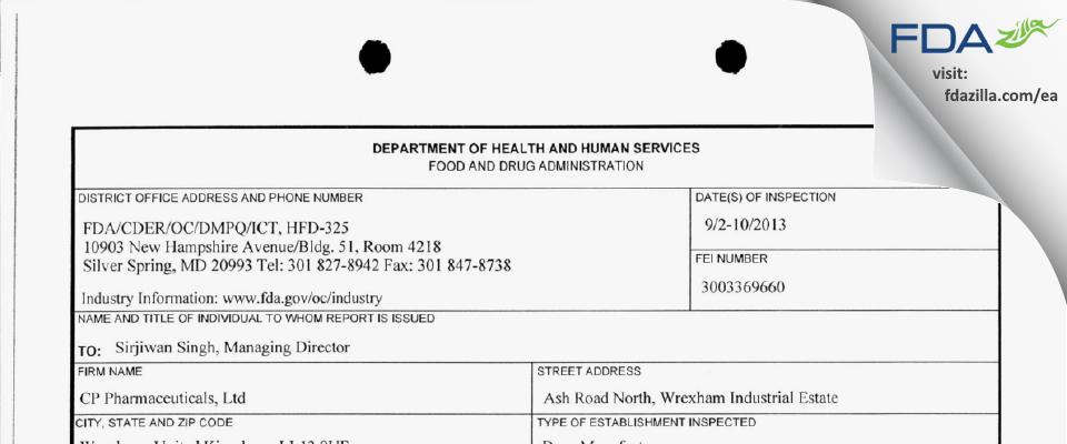CP Pharmaceuticals FDA inspection 483 Sep 2013
