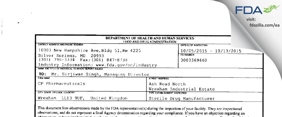 CP Pharmaceuticals FDA inspection 483 Oct 2015