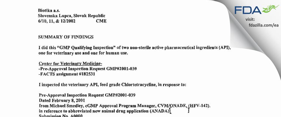 Biotika a.s. FDA inspection 483 Jun 2002