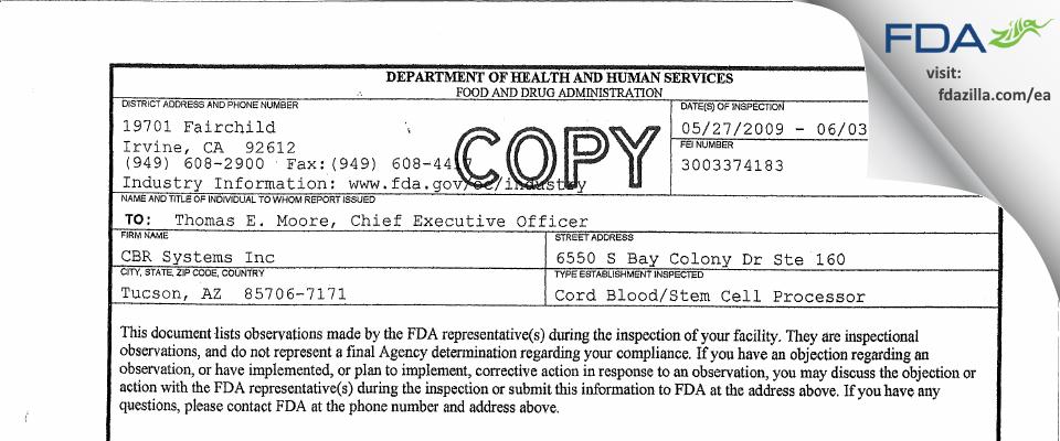 Cbr Systems FDA inspection 483 Jun 2009