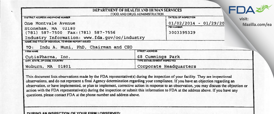 CutisPharma FDA inspection 483 Jan 2014