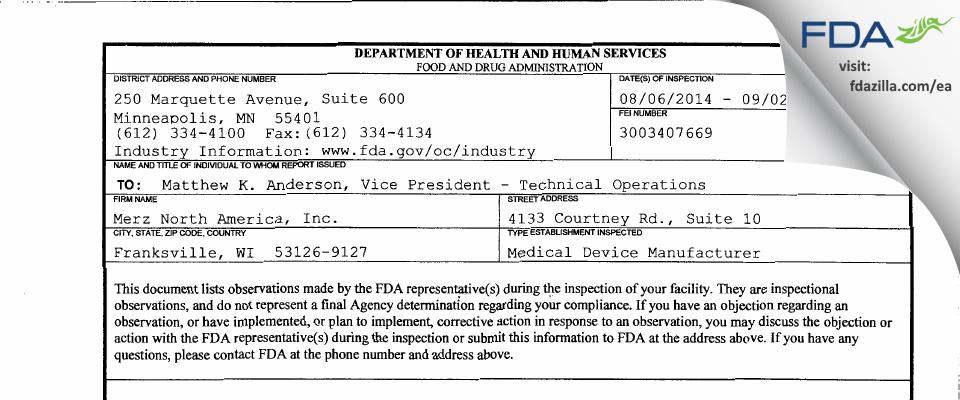 Merz North America FDA inspection 483 Sep 2014