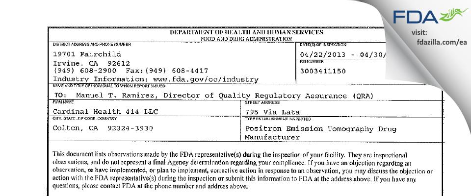 Cardinal Health 414 FDA inspection 483 Apr 2013
