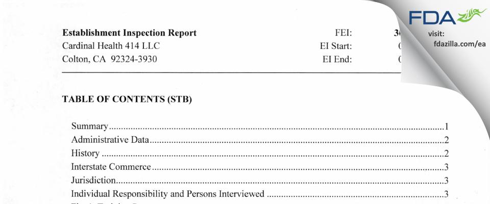 Cardinal Health 414 FDA inspection 483 May 2014