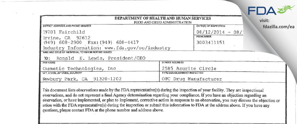Thibiant International FDA inspection 483 Aug 2014