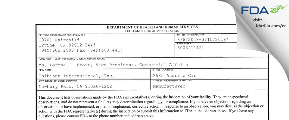 Thibiant International FDA inspection 483 Mar 2018