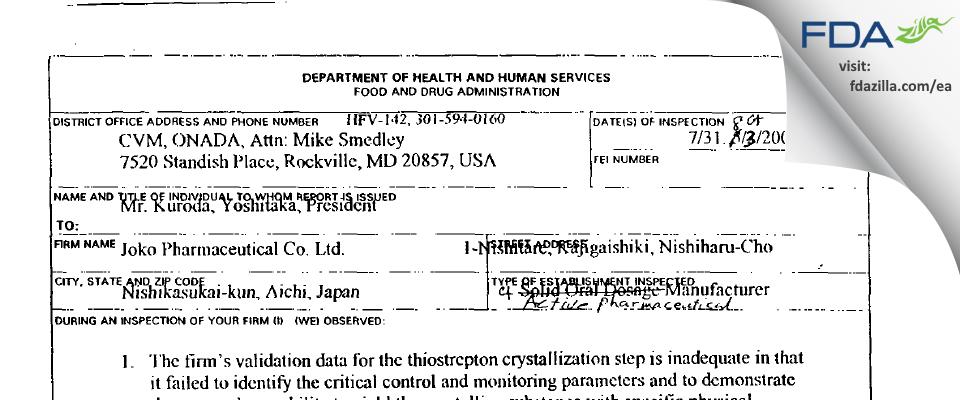 Asahi Vet Japan FDA inspection 483 Aug 2001