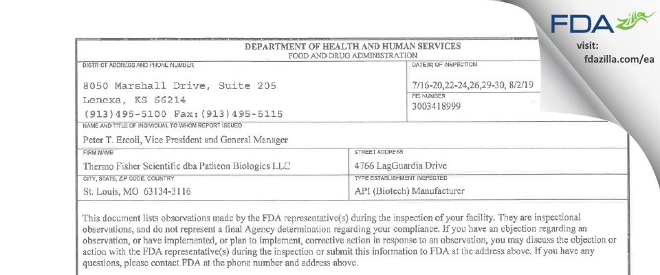 Thermo Fisher Scientific dba Patheon Biologics FDA inspection 483 Aug 2019