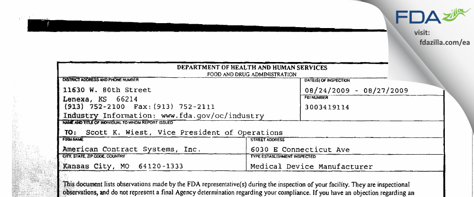 American Contract Systems FDA inspection 483 Aug 2009