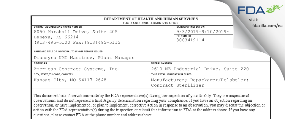 American Contract Systems FDA inspection 483 Sep 2019