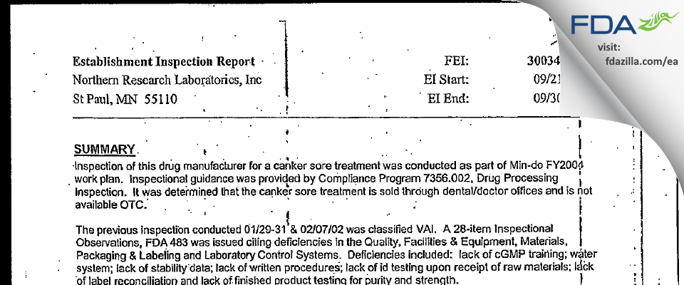 Epien Medical FDA inspection 483 Sep 2004