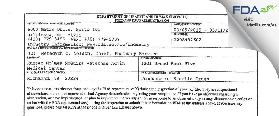 Hunter Holmes McGuire Veterans Affairs Medical Center FDA inspection 483 Mar 2015