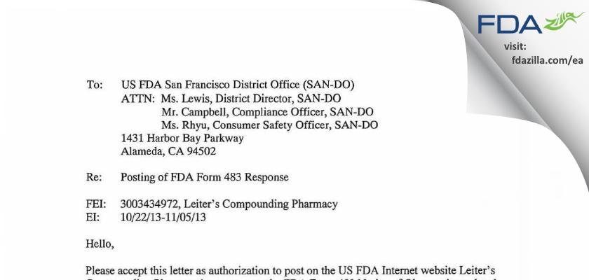 Leiter's Enterprises FDA inspection 483 Nov 2013