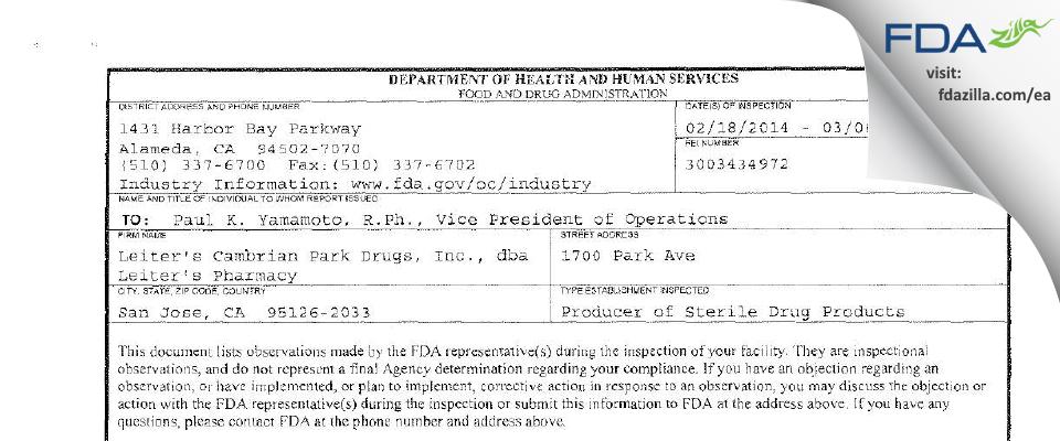 Leiter's Enterprises FDA inspection 483 Mar 2014