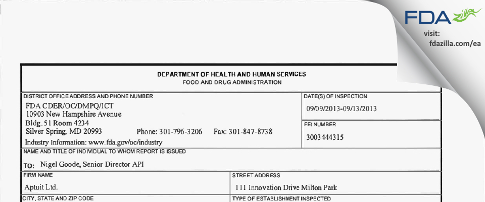 Aptuit (Oxford) FDA inspection 483 Sep 2013