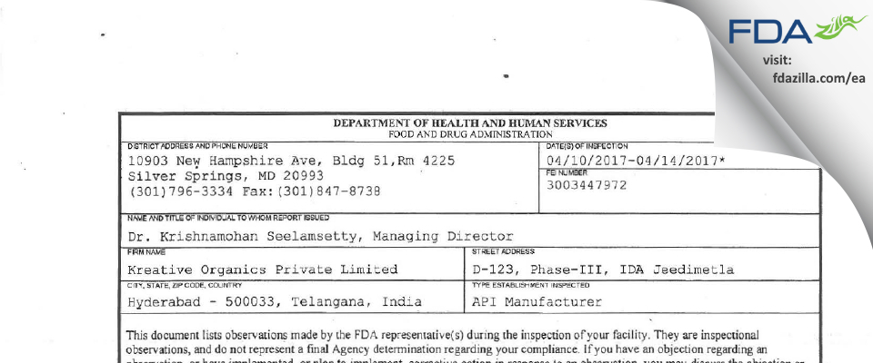 Kreative Organics Private FDA inspection 483 Apr 2017