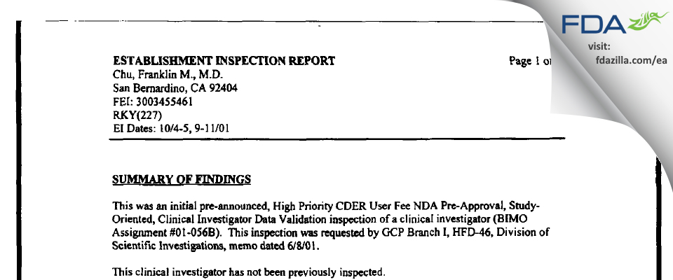 Chu, Franklin M., M.D. FDA inspection 483 Oct 2001