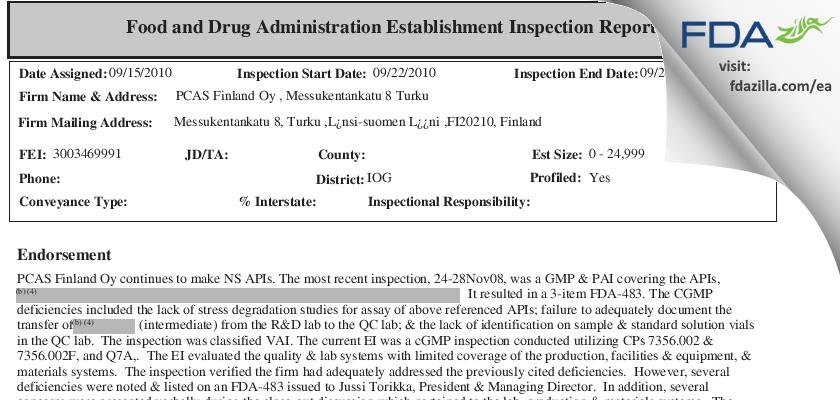 PCAS Finland Oy FDA inspection 483 Sep 2010