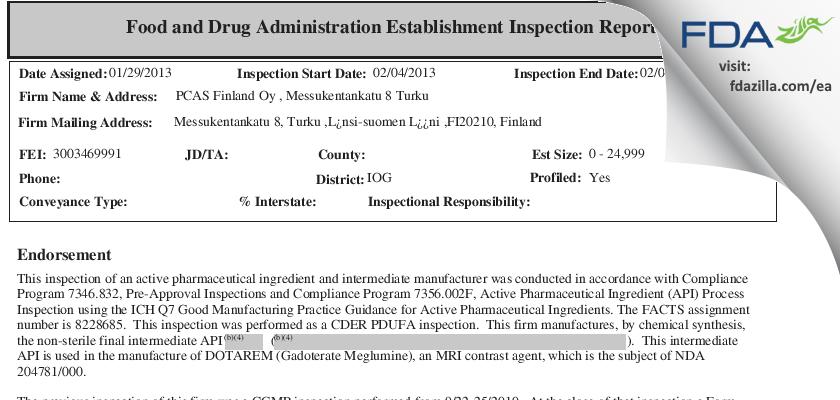 PCAS Finland Oy FDA inspection 483 Feb 2013