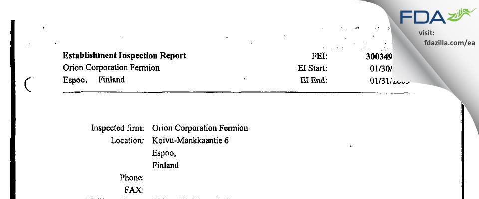 Orion Fermion Oy FDA inspection 483 Jan 2003