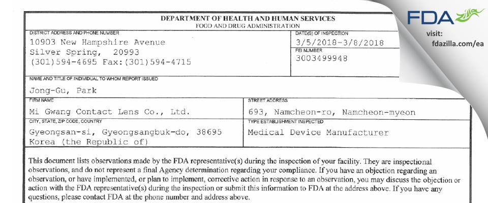 Mi Gwang Contact Lens FDA inspection 483 Mar 2018