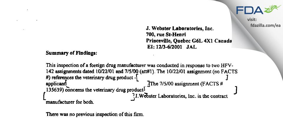 Vetoquinol N.-A. FDA inspection 483 Dec 2001