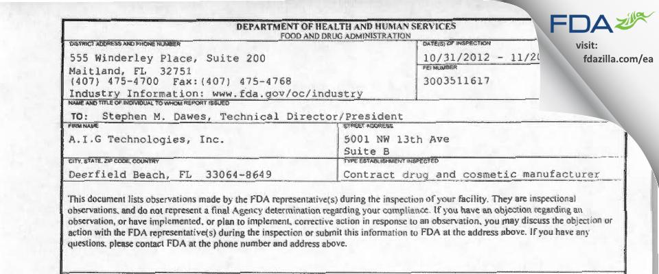 A.I.G Technologies FDA inspection 483 Nov 2012
