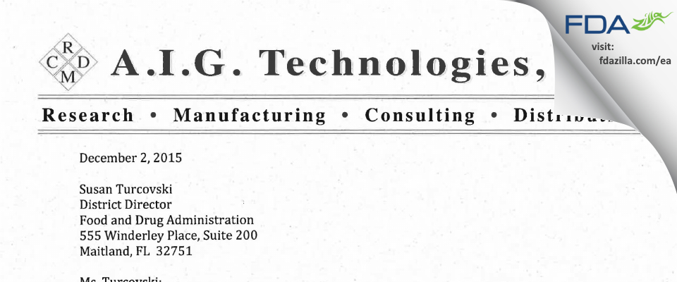 A.I.G Technologies FDA inspection 483 Nov 2015