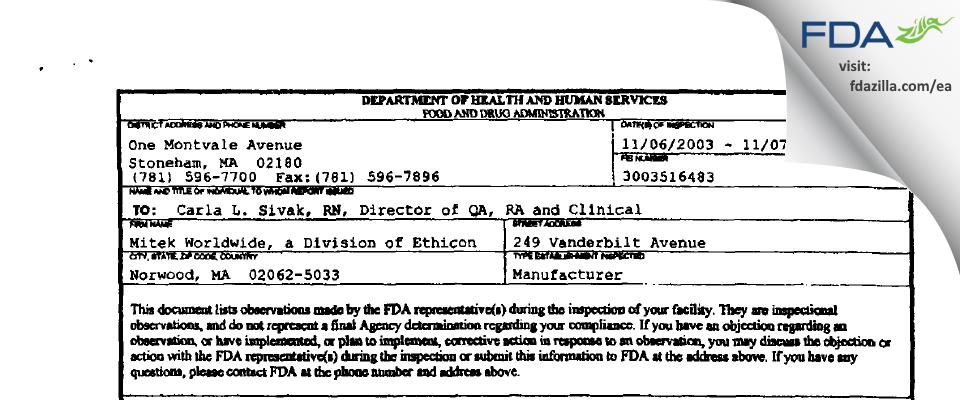 DePuy Mitek, a Johnson & Johnson FDA inspection 483 Nov 2003