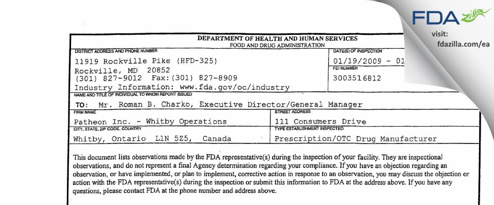 Patheon FDA inspection 483 Jan 2009