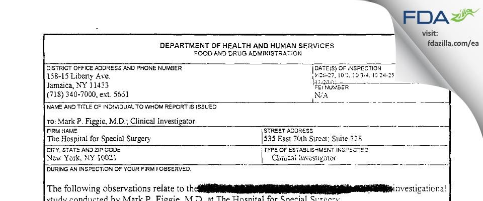 Mark P.Figgie, M.D. FDA inspection 483 Nov 2001