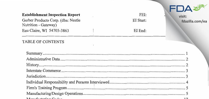 Gerber Products dba Nestle Nutrition - Gateway FDA inspection 483 Jun 2013