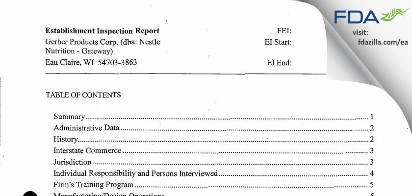 Gerber Products dba Nestle Nutrition - Gateway FDA inspection 483 Jul 2015