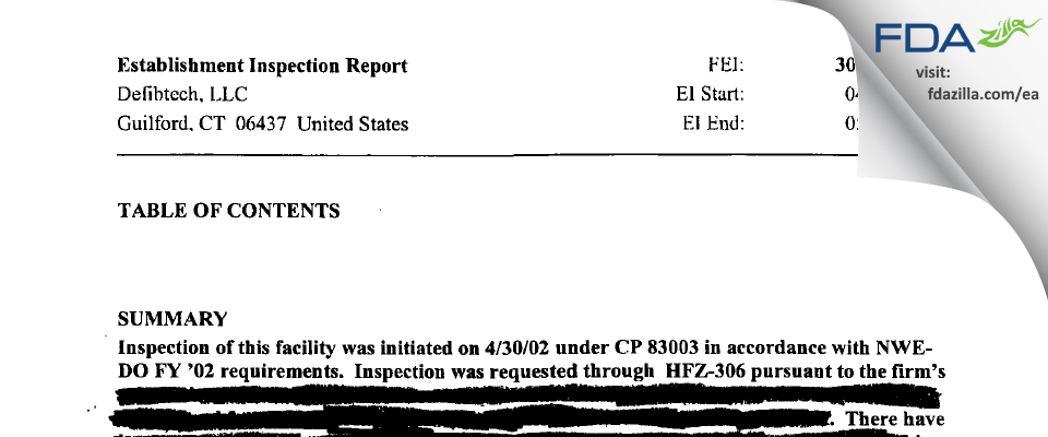 Defibtech FDA inspection 483 May 2002